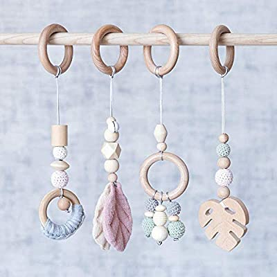 Let's Make 4pcs Baby Gym Toys Wood Baby Teether Pendant Rattles Baby Activity Gym Hanging Toy: Toys & Games