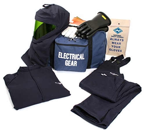 National Safety Apparel KIT4SC40LG09 ArcGuard UltraSoft Arc Flash Kit with Short Coat and Bib Overall, 40 Calorie, Large/Glove Size 9, Navy by National Safety Apparel Inc