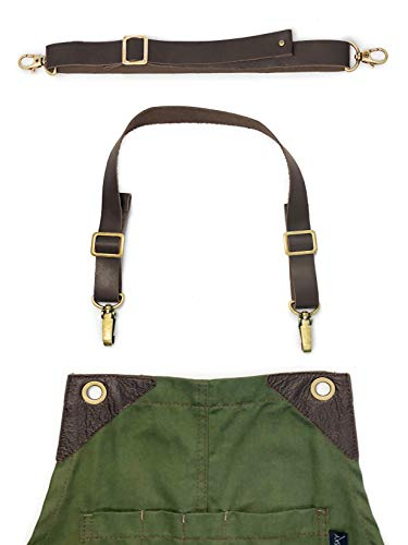 Under NY Sky Full Grain Brown Leather Strap Set Aprons – Over-The-Neck Style – Straps Metal Hardware Chef, Barber, Bartender, Barista, Tattooist, Mechanics – Adjustable Men Women by Under NY Sky