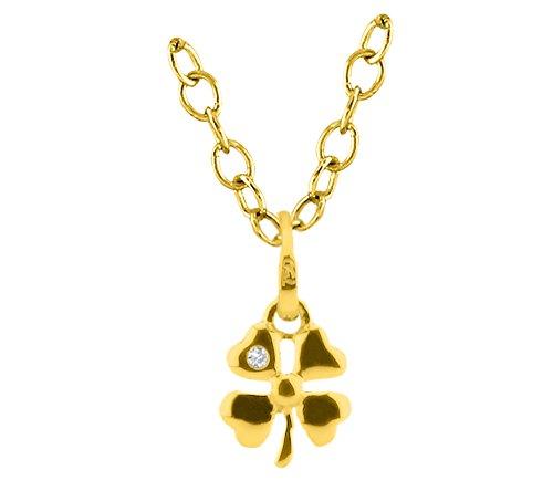 Or Jaune 9 ct Pendentifs Diamant en forme de fleur, 0.01 Ct Diamant, GH-SI, 0.58 grammes.