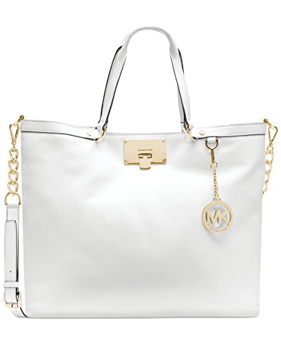 Michael Kors Channing Large White Leather Shoulder Tote