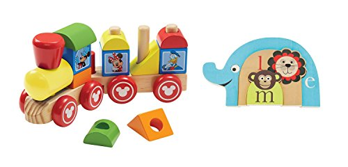 Puzzle Shaped Animals Zoo (Baby Toy Gift Set. Animal Puzzle and Wooden Stacking Train.)