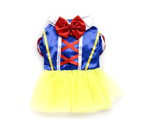 SMALLLEE_LUCKY_STORE Pet Small Dog Cat Puppy Clothes Winter Cartoon Princess Dress Skirt Halloween Party Costume (Princess Winter Costumes)
