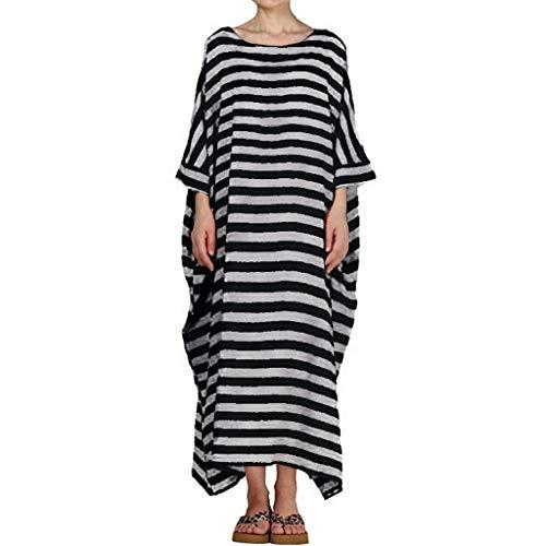 HYIRI Boho Women's Dresses Casual Striped 3/4 Sleeve