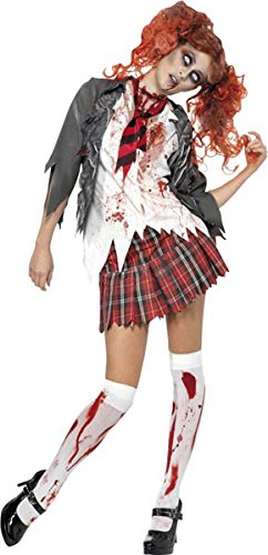 Smiffy's Women's High School Horror Zombie Schoolgirl Costume, Jacket, Attached Shirt, Tie and Skirt, High School Horror, Halloween, Size 6-8, 32929