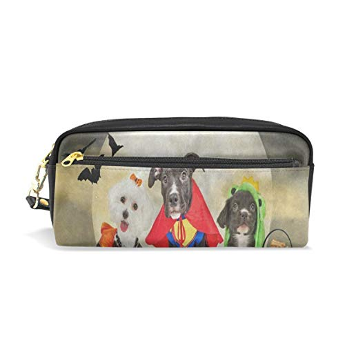 Pencil Case/Makeup Bags Hipster Puppy Dog Dressed in Halloween Costumes Big Capacity Portable Pencil Bag for College Students/Women/Adults