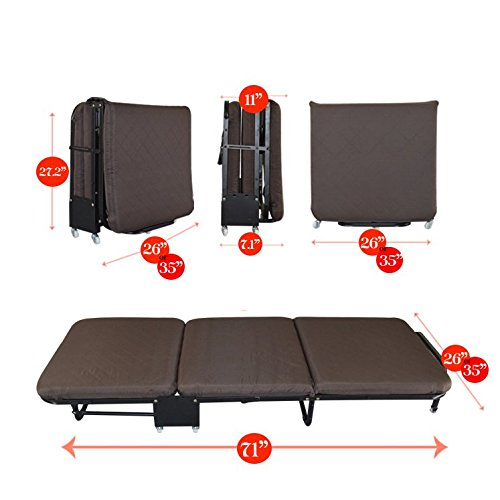 All In one Rollaway Guest Bed Night Heavy Duty Steel Frame With Foam Mattresses With Diamond Style Cover(Twin Size(35.5''Wide), Red) by Magshion Futon Furniture (Image #1)