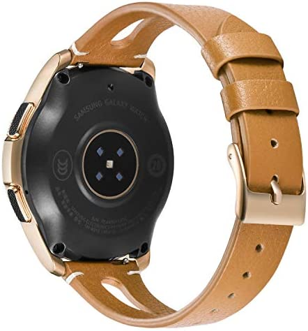 Areziir 20mm Slim Leather Bands Compatible with Samsung Galaxy Watch Active 40mm & Galaxy Watch 42mm Smart Watch, Genuine Leather Cute Replacement Band for Garmin Vivoactive 3 (Brown/Rose Gold) 41GU5STuIYL
