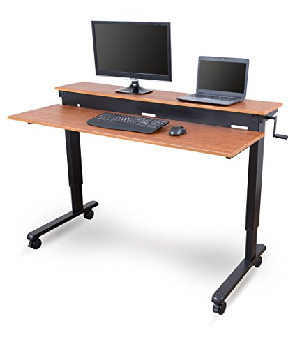 Stand Up Desk Store Crank Adjustable Sit to Stand Up Computer Desk - Heavy Duty Steel Frame, 60 Inches, Black Frame/Teak Top ()