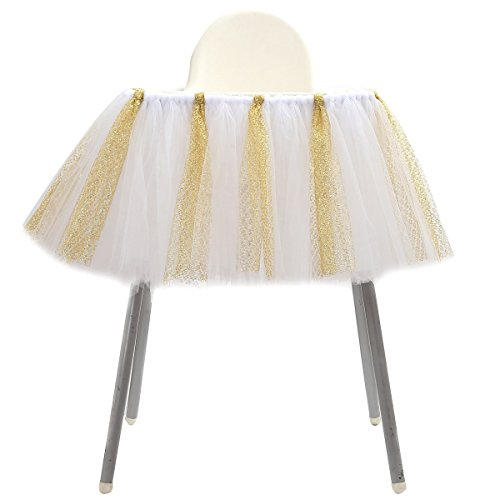 1st Birthday Tutu Skirt for High Chair Decoration for Party Supplies Baby Pink (White & Silver - No Banner) ()