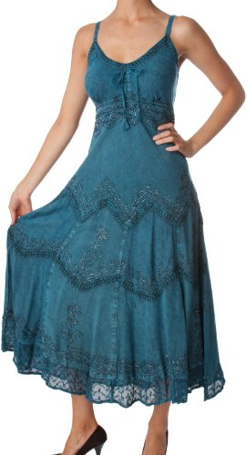 AA4012 - Stonewashed Rayon Embroidered Adjustable Spaghetti Straps Long Dress ( Various Colors & Sizes ) - Steel Blue 1X/2X