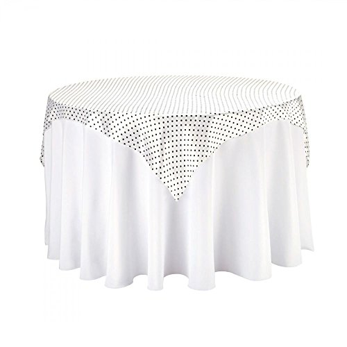 LinenTablecloth Square Satin Overlay, Polka Dot, 60-Inch, White/Black