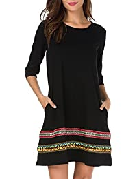 Womens 3/4 Sleeve A-Line Embroidered Loose Casual T-Shirt Tunic Dress