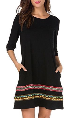 THANTH Womens 3/4 Sleeve A-Line Embroidered Loose Casual T-Shirt Tunic Dress Black S