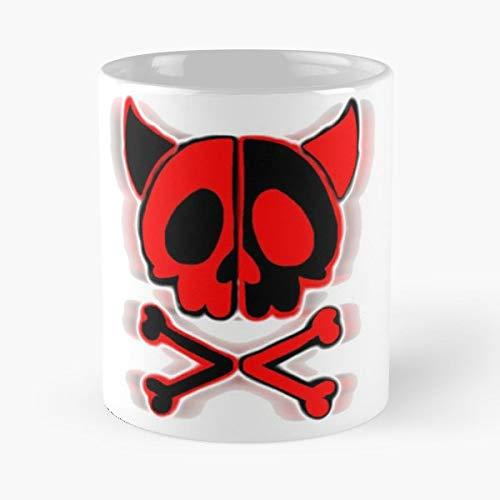 Cute Skull Horns Cross - Handmade Funny 11oz Mug Best Birthday Gifts For Men Women Friends Work Great Holidays Day Gift