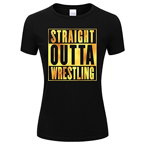 SPGBTees Gold Foil Women's Straight Outta Wrestling T-shirt Black Color XL-Size by SPGBTees