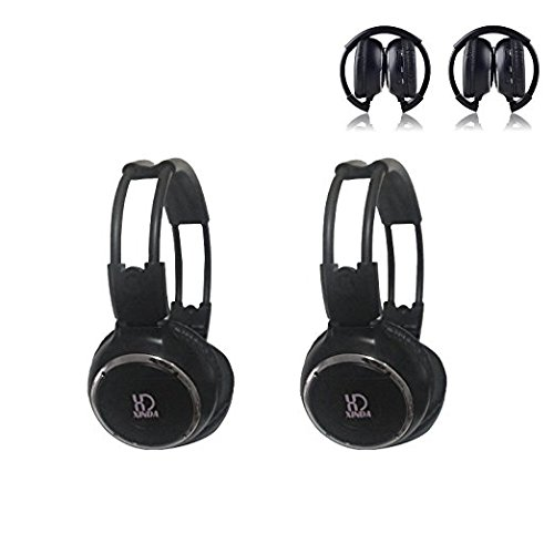2018 Updated Car Headphone,XINDA 2 Packs Double Channel Wireless Infrared Car Headset Foldable Vechile IR Headphones for In-Car TV DVD Video (Channel Wireless Ir Headphones Dual)