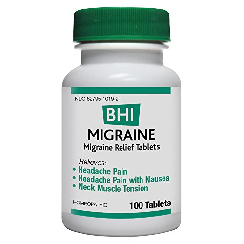 BHI Migraine Relief Tablets - Homeopathic Formula for Minor Headache Pain, Headache Pain with Nausea and Neck Muscle Tension - 100 Count