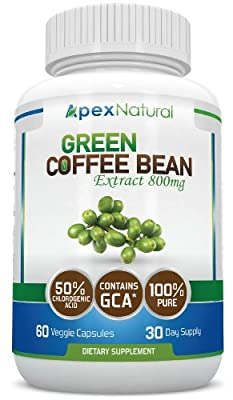 Pure Green Coffee Bean Extract 800mg with GCA® (50% Chlorogenic Acid) - EXTRA Strength - Natural Green Coffee Bean Extract - 60 Veggie Capsules by Apex Natural