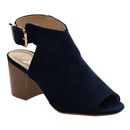 BETANI EL80 Women's Slingback Peep Toe Block Stacked Heel Ankle Bootie Sandals, Color Navy, Size:9 (Blue Peep Toe Shoes)