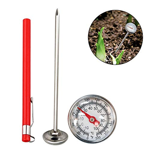 Thermometer Smart Thermometer Stainless Steel Soil Thermometer Dial Display 0-100 Degrees Celsius Range Soil Temperature Thermometer for Ground Compost Garden Soil ()