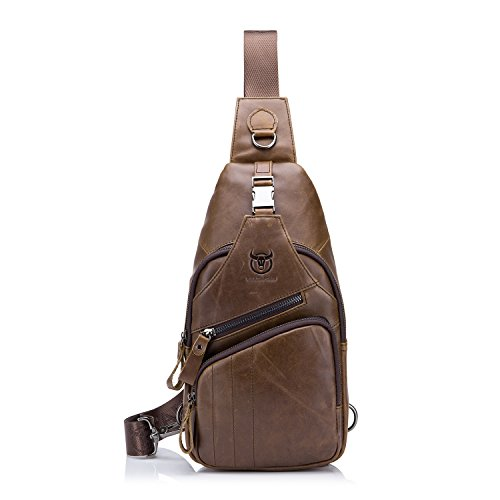 BULLCAPTAIN Shoulder Backpack Casual Cross Body Bag Big Size Genuine Leather for 9.7 inch Ipad Pro Pack Travel Sling Bag XB-105 (Deep Brown, Big)