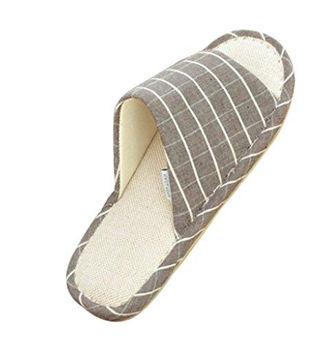 Cattior Mens Stripes Open Toe Spa slippers House Slippers Gray pjmGBcj