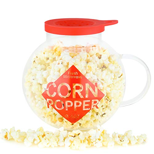 Galashield Microwave Popcorn Popper 3.4QT Temperature Safe Glass and Silicone Lid Popcorn Maker