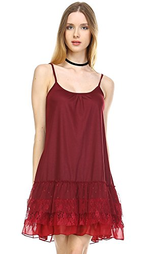 Women's Knit Full Slip Short Camisole Dresses with 3 Combo Ruffle Layers (3X, RED)