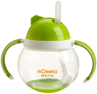 Lansinoh mOmma Straw Cup with Dual Handles, Green, BPA Free and BPS Free