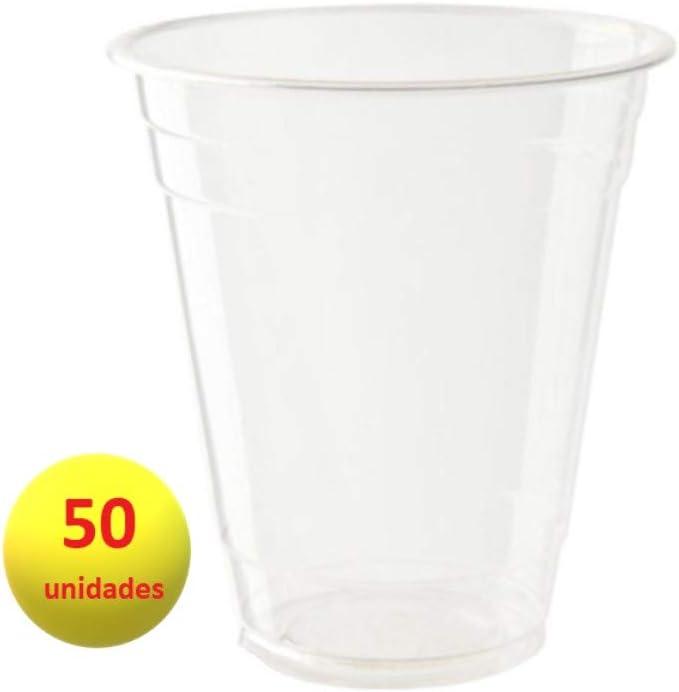Bionatic Spain Vaso de plastico organico PLA para Cerveza y refrescos,desechable, compostable y sostenible. Ideal para Fiestas, Catering, Eventos, cumpleaños, Camping, Barbacoa. 50 unidades (400 ml)