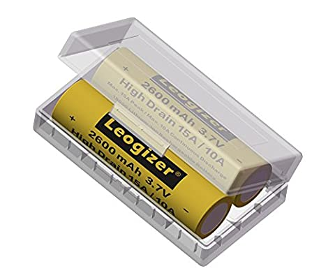 Leogizer 2xPCS High Drain 18650 Lithium ion Battery 3.7V Li-ion Rechargeable 2600mAh Max.15A Peak/10A Continuous Discharge (Mods Vape Charger)