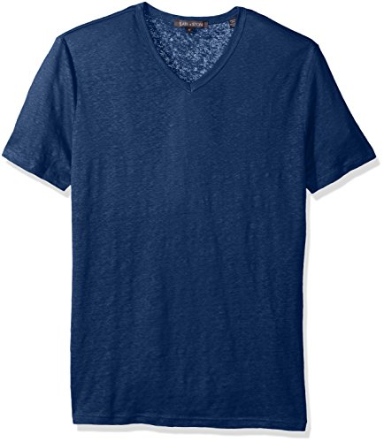 Slate & Stone Men's Stuart Short Sleeve V-Neck Linen Tee Shirt, Deep Blue, Small