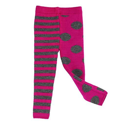 Maria Elena - Infants & Toddler Thick Thermal Leggings Mix Match Polka Dot & Stripe Kelly & Katie - Fuchsia Charcoal 4T