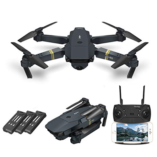 Quadcopter Drone With Camera Live Video, EACHINE E58 WiFi FPV Quadcopter with 120° FOV 720P HD Camera Foldable Drone RTF - Altitude Hold, One Key Take Off/Landing, 3D Flip, APP Control(3Pcs Batteries)