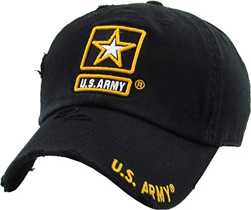 KBARMY-003 BLK US Army Officially Licensed Baseball Cap Military Vintage Adjustable Hat