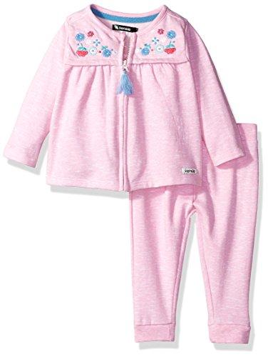 kensie Baby Girls' 2 Piece French Terry Set, Prism Pink, 12M