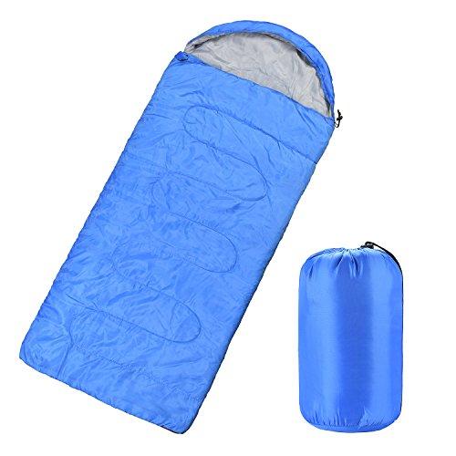 Vovoly Sac de couchage Ultra Léger Garnissage de fibres Idéal Pour les Voyages Pendant les 4 Saisons, le Camping, la Randonnée et les Activités de Plein Air