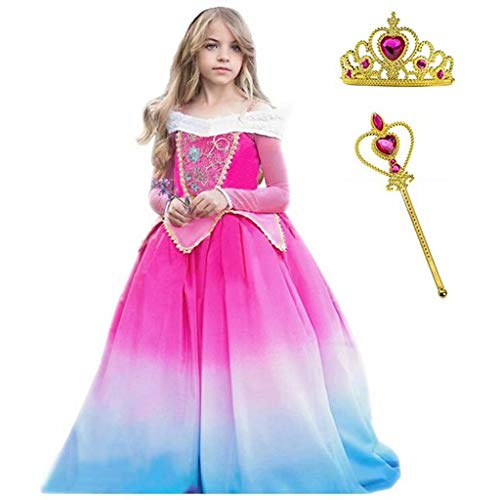 Szytypyl Sleeping Beauty Princess Aurora Long Dress for Girls Party Halloween Costume Birthday Gowns Cosplay