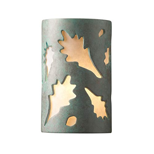 Patv Verde Patina Ceramic - Justice Design Group Ambiance ADA Verde Patina Small Oak Leaves Wall Sconce