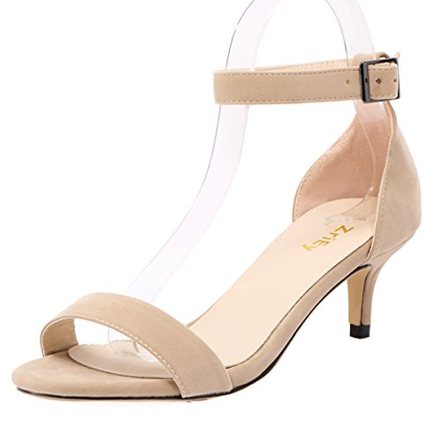 ZriEy Women Sexy Open Toe Ankle Straps Low Heel Sandals Velvet Nude size 8