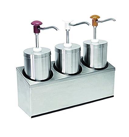 Dispensador de salsa (3) con por 2,25 litros de capacidad, acero