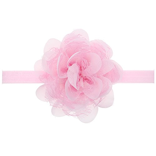 (Floral Fall Baby Girls Cute Elastic Chiffon Lace flower Headbands Hair Bands BY-36 (Pink))