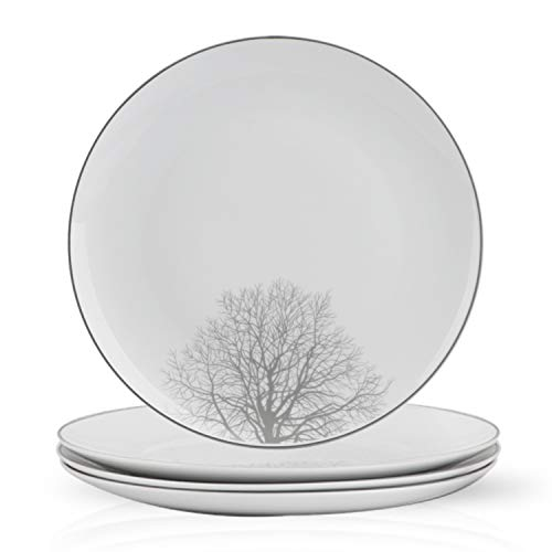 HF HOFTEN 10.5 Inch Porcelain Dinner Plates, Tree Theme Dish set for Appetizer,Salad,Bread Butter, Non-toxin, Dishwasher & Microwave Safe, Set of 4, White(PLA105-4P05) ()
