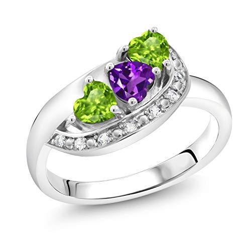 Gem Stone King 0.84 Ct Heart Shape Purple Amethyst Green Peridot 925 Sterling Silver Ring (Size 9) ()