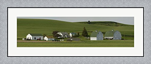 Farm with double barns in wheat fields, Washington State, USA by Panoramic Images Framed Art Print Wall Picture, Flat Silver Frame, 38 x 16 inches (Field Washington Usa Framed)