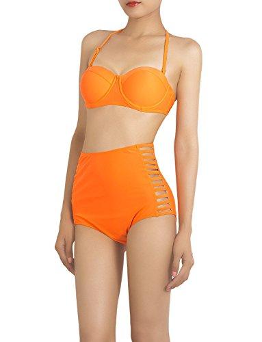 iB-iP Mujer Vintage Recortó Halteres Ajustables Cintura Alta Conjunto De Bikini Coral
