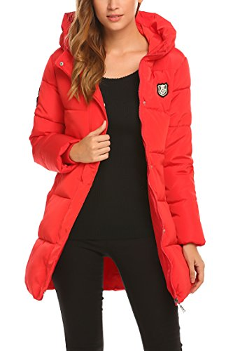 SE MIU Women Winter Puffer Down Hooded Jacket With Stuff Sack, Red, (Red Coats Sack)