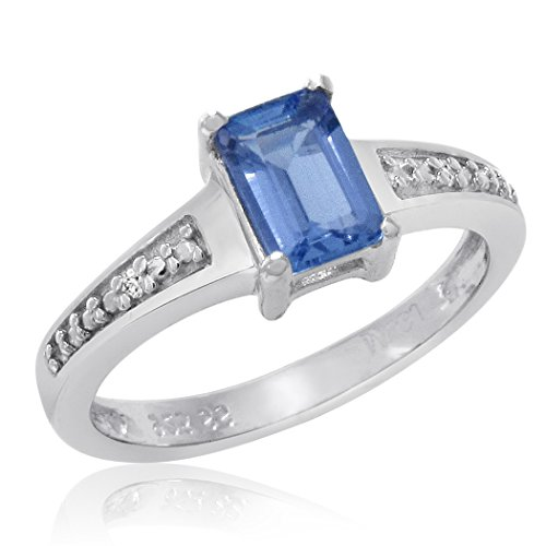 1/2ct Emerald Cut Tanzanite and Diamond Ring in Sterling Silver (Available Size 5-8) sz6