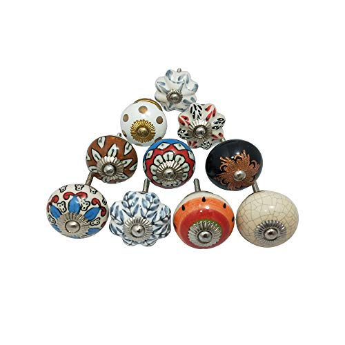 M A IMPEX Knobs Handmade 10 Pieces Multicolours Or Multi Designs of Ceramic Knobs for Pulls Your Drawers